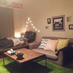 natsuさんの、部屋全体,照明,IKEA,壁,ソファ,ベッド,ファブリック,クッション,一人暮らし,Francfranc,北欧,unico,レンガ,賃貸,テキスタイル,リラックス,フレンチシック,ひとり暮らし,フレンチ,男前,グレー,kelt,ブルックリンスタイル,チェーンライト,のお部屋写真