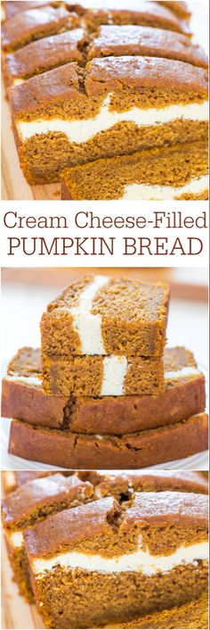 Pumpkin Bread - Pumpkin bread that's like having cheesecake baked in! Soft, fluffy, easy and tastes ahhhh-mazing!Cream Cheese-Filled Pumpkin Bread - Pumpkin bread that's like having cheesecake baked in! Soft, fluffy, easy and tastes ahhhh-mazing! Fall Desserts, Just Desserts, Delicious Desserts, Dessert Recipes, Yummy Food, Thanksgiving Desserts, Dessert Bread, Cheese Dessert, Health Desserts