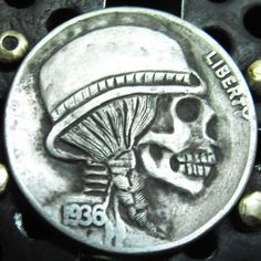 Hobo nickel buffalo nickel skull love token folk art carved by Larry Foster Buffalo Skull, Hobo Nickel, Art Carved, Illustration Art, Illustrations, Larry, Skulls, The Fosters, Folk Art