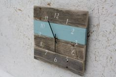 Modern.  Pallet Wood.  Repurposed.  Recycled.  Reclaimed Wood Wall Clock.  Sky blue.  Italicized numbers.  Great Gift.  Beach house.