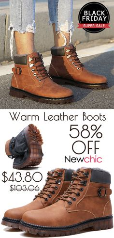 1bdbcf7425b3 Large Size Men Plush Lining Metal Buckle Warm Casual Leather Boots is  fashionable