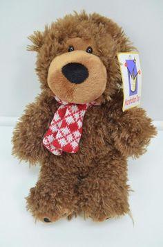 "Manhattan Toy Teddy Bear Plush Red Argyle Scarf Stuffed animal NEW 10"" #ManhattanToy"