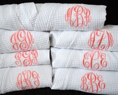 Monogrammed Robe Waffle Robe Kimono Spa Robe Personalized Robe Embroidered Bridesmaids Gift on Etsy, $35.00