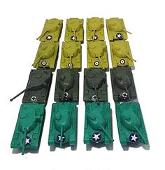 16 Pc Army Military Tanks Play Set (3 Colors). 3 Colors: Green, Dark Olive or Dark Gray, Desert or Mustard Yellow (Colors May Vary). 8 Desert (or Mustard Yellow) Tanks, 4 Green Tanks, 4 Dark (Olive or Gray). Dimensions: 4.25 inches x 1.75 inches x 1.5 inches (LxWxH). Tanks measurements from back of tank to tip of gun turret. Moving wheels. Gun Turret rotates. Made of Plastic.