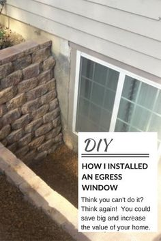 Home Remodeling Basement Egress window installation. Learn how to install an egress window in your basement and increase the value of your home. Basement Remodel Diy, Basement Makeover, Basement Apartment, Basement Renovations, Basement Decorating, Decorating Ideas, Interior Decorating, Remodel Bathroom, Bathroom Remodeling