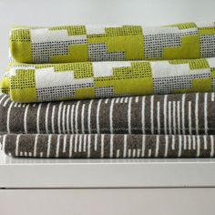 Easterly blanket by Eleanor Prichard on top; Signal blanket on bottom sold at Lekkerhome, Boston, 2013-4