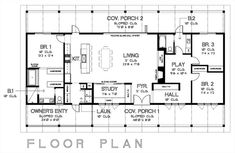 Ranch Style House Plan - 3 Beds 2 Baths 1872 Sq/Ft Plan #449-16 Floor Plan - Main Floor Plan - Houseplans.com