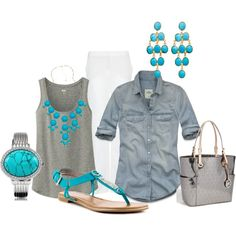 denim, gray & white with turquoise accessories by sherlynd on Polyvore