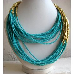 Turquoise Blue Necklace/Statement Necklace/Multi Strand Necklace/Chunky Necklace/Beaded Necklace/Bib Necklace/Beaded Jew