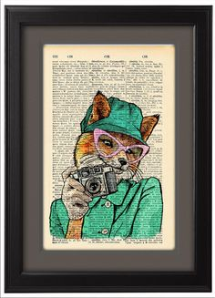 Fox Funny poster Fancy Fox taking photo Dictionary by Natalprint