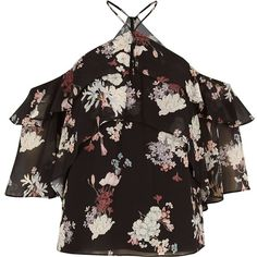 River Island Black print frill cold shoulder blouse ($70) ❤ liked on Polyvore featuring tops, blouses, bardot / cold shoulder tops, black, women, flounce tops, open shoulder blouse, flutter-sleeve top, cold shoulder tops and layered blouse