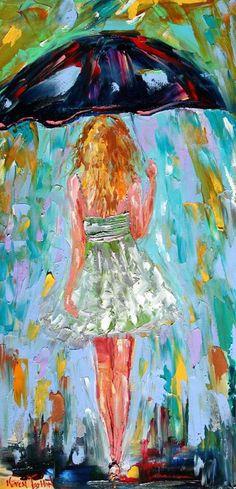 Original oil painting Rain Girl texture figurative impasto palette knife fine art by Karen Tarlton modern impressionism Rain Painting, Painting & Drawing, Art Amour, Umbrella Art, Umbrella Painting, Modern Impressionism, Art Et Illustration, Art Design, Love Art