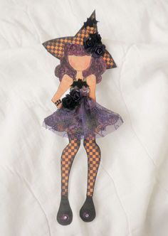 Handmade Prima Halloween Witch Lace Dress Paper Doll Paper Piecing by Becky #ShabbyCottageHandmade
