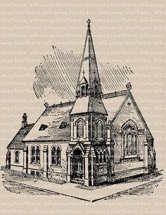 Victorian Church - Clip Art Image – 1917 Architecture Illustration – Digital Stamp – Printable Transfer - instant download clipart - CU OK