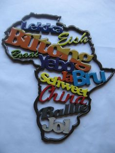 Wooden Africa cutout with words