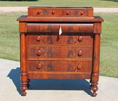 American Empire Flamed Mahogany Dressing Chest with Columns & Key c1850's #Empire