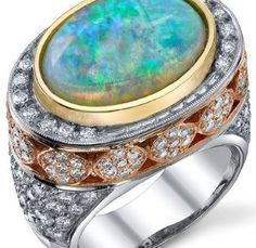 Beautiful White Crystal Opal Ring set 18 kt Yellow, White & Rose Gold