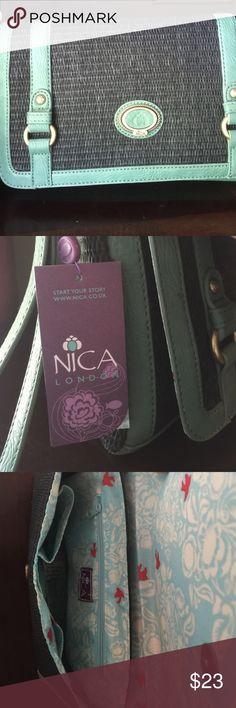 Cute clutch bag by NICA Brand new NICA clutch bag . Straw like exterior . Green and black ... Never used ... It's big enough to put any size wallet in . Great for the beach ... NICA Bags Clutches & Wristlets