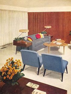 Mid-century interior- simple colour palette