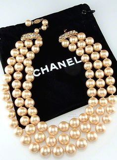 CHANEL Triple Strand Faux Pearl Necklace with Rhinestone Closure: ChanelRhinestonePearlNecklace: Removed Chanel Pearls, Chanel Jewelry, Pearl Jewelry, Vintage Jewelry, Chanel Necklace, Crystal Jewelry, Jewlery, Jewelry Accessories, Fashion Accessories