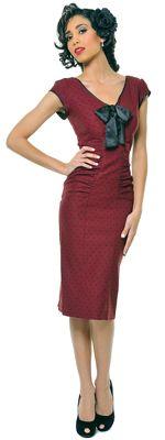 1940's Style STOP STARING Burgundy & Black Polka Dot Cap Sleeve Wiggle Bow Tie Dress