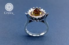 Handmade silver and red gold protea ring with Citrine. Ember Manufacturing & Design (PTY)LTD Bespoke Jewellery, Red Gold, Handmade Silver, Gemstone Rings, Silver Rings, Jewelry, Design, Jewlery, Jewerly
