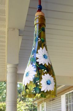Wind Chime White & Blue Daisy made from recycled by BottleofLight