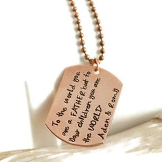 Personalized Copper Dog Tag Necklace