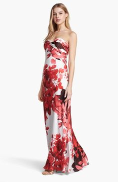 Adrianna Papell Front Twist Floral Print Gown available at Pretty. Floral Print Gowns, Floral Prints, Always A Bridesmaid, Bridesmaid Dresses, Formal Attire For Women, Red Fashion, Evening Dresses, Long Dresses, Women's Dresses