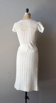 1930s Crochet sweater dress / Chalklands by DearGolden on Etsy
