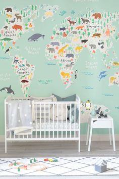 Explorer Kids World Map Mural Random Pinterest Illustrated - Explorer kids world map mural