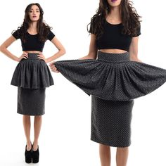 Vtg 80s Does 40s Tweed AVANT GARDE High-Waist Origami PEPLUM Wiggle Pencil Skirt #StewartRicher #Peplum