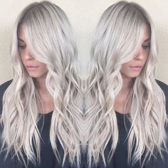 Icy blonde bombshell ❄ with a smudged root for a natural grow out #babylights…