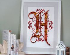 A Monogram poster initial Print Quilled by YakawonisQuilling