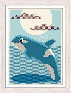 Nursery room wall Art Print - Orca Killer Whale - Sea animal illustration wall decor - Nursery room modern  decoration-