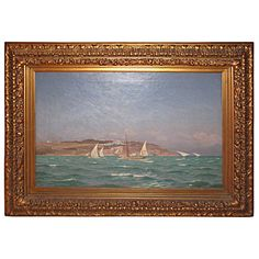 Danish 19th Century Seascape Painting by Viggo Helsted | From a unique collection of antique and modern paintings at https://www.1stdibs.com/furniture/wall-decorations/paintings/