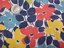 "Vintage Antique Cotton Quilt Doll Fabric Print 20s RED Blue Lime Floral 36"" wd"