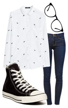 """Cute, nerdy outfit"" by cierra-k-smith on Polyvore featuring Frame Denim, MANGO and Converse"