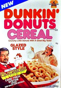 """Ralston - Introduced in 1988 This cereal came in two varieties: Glazed Style and Chocolate. The box described the cereal as """"crunchy little donuts with a great big taste! Retro Recipes, Vintage Recipes, Kids Cereal, Cereal Boxes, Cool Card Tricks, 80s Food, Retro Food, Cereal Killer, Nostalgia"""