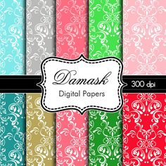 Colorful Damask Digital Papers for Personal and by HeadsUpGirls,