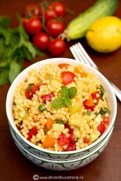 Salad With Couscous And Vegetables Stock Image - Image of sweet, vegetables: 42526385 Healthy Salad Recipes, Vegetarian Recipes, Cooking Recipes, Romanian Food, Raw Vegan, Great Recipes, Good Food, Food And Drink, Healthy Eating