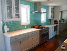 House of Turquoise: Reader Renovation! Backsplash tile - Daltile Glass Reflections Subway tile in Serene Green (color #GR03)