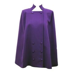 Matthew Williamson ladies purple wool cape (£327) ❤ liked on Polyvore featuring outerwear, jackets, coats, capes, tops, women, double breasted cape coat, wool cape coat, purple cape and wool cape