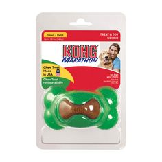 Kong Marathon Bone Dog Toy - Small http://www.thatpetplace.com/kong-marathon-bone-dog-toy-small?sc=14&category=117501&utm_content=bufferfab02&utm_medium=social&utm_source=pinterest.com&utm_campaign=buffer | Kong's Marathon is a toy and a treat bundled in one! Made of durable non-toxic rubber that stands up to tough chewers, the toy also holds a Marathon treat. Your dog gets a tasty treat while spending hours of chewing fun! Helps improve dental health by cleaning teeth and freshening breath.