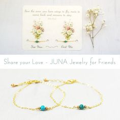 Matching friendship sets on a perforated card to share... handmade by JUNA Jewelry