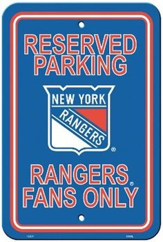 Bsi Products NHL New York Rangers Plastic Parking Sign