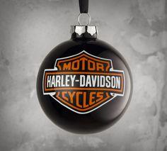 Gear up for your holiday celebrations Harley style. | Harley-Davidson Black Bar & Shield Logo Ornament