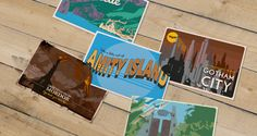 Love these Fictional Destinations postcards. I would put the Gotham City one up in my room #bookish #fanfiction #bookart