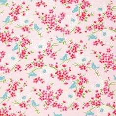 Tanya Whelan Sugar Hill - Birdy - Pink Fabric. Material:  100% Cotton,  Weight:  Medium - suitable for Patchwork/Quilting/Dressmaking/Bags/Crafts,  Width:  43/44 inches (109/111cm),  Washing:  Machine wash warm, normal cycle with like colours. Tumble dry low, remove promptly and use a warm iron if necessary