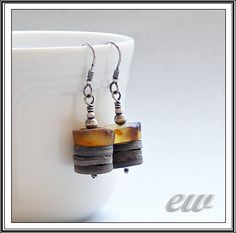 Silver earrings with amber & shell